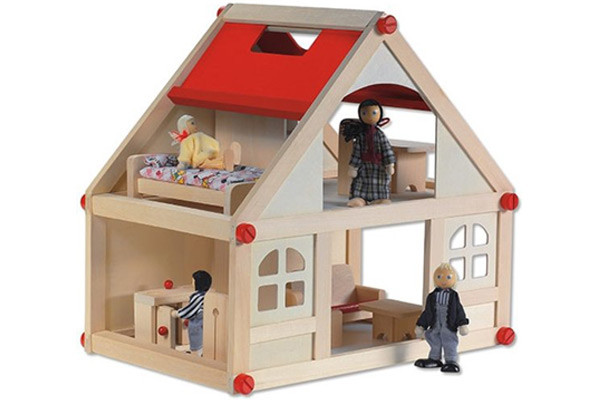 Woodtoys poppenhuis hout for Groot poppenhuis